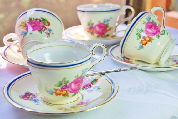 "Charming AYNSLEY Espresso/ Demitasse Tea Set of Four (4), ""Claridge"", Colbalt/Floral, England c. 1934-39"