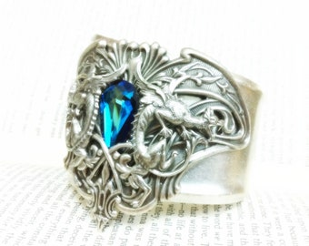 Atlantis Cuff - Aged silver plated brass filigree bracelet cuff - Nouveau Dragon and Bermuda Blue Swarovski