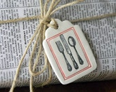 Red Frame & Fork,Spoon,Knife Clay Tag - Ornament - Gift Wrap