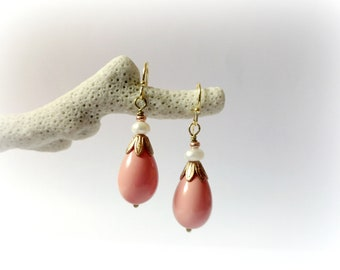 Flamingo - Pink Coral salmon earrings Seashell teardrops freshwater pearls raw brass leaves Gift for her Sea lover