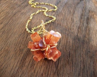 Raw aragonite cluster cluster necklace MADE TO ORDER