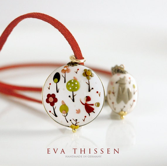 RESERVED for nenemarie. The Little Red Riding Hood. Whimsical hand made polymer clay choker.
