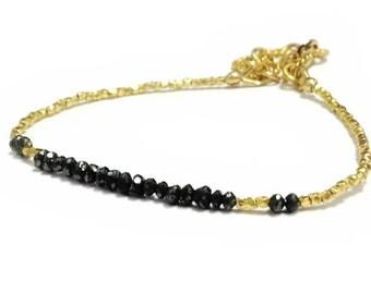 Black Diamond Bracelet - Black Jewelry - Gold Vermeil Jewellery - Gemstone - Dainty - Luxe