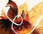 Sitting Autumnal Red Fox (A4 Print)