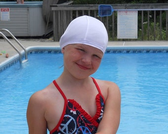 Lycra SWiM CaP - WHITE - Sizes - Baby , Child , Adult , XL - Made from Spandex / Swimsuit Swimming Fabric -by Froggie's Swim Caps