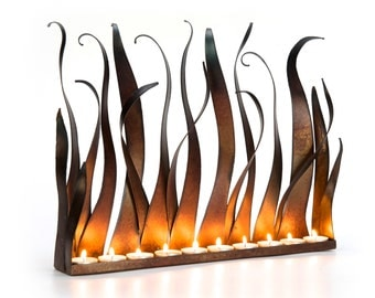 Metal Candle Holder  - Tabletop Sculpture / Fireplace Insert For Tea Lights Or Candles With Copper Patina