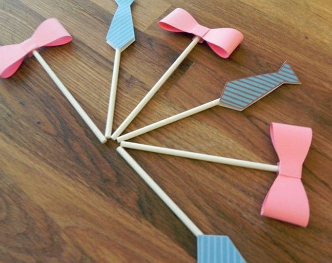 Cupcake Toppers: Gender Reveal Little Man or Little Miss Baby Shower - Die Cut Pink Girl Bow & Blue Boy Ties