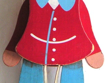 Vintage Wooden Articulated Pinocchio. Sevi Italy. Sevi Toys. Wood. Hand Painted.Wooden Toys.Doll