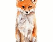 Fox print from original watercolor painting  5 X 7