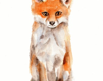 Fox print from original watercolor painting  11 X 14