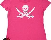 Skull shirt for women Jolly Roger Flag skull geekery tee shirt for girls skull and crossed swords t shirt womens pirate shirt