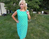1960s Green and Blue Polka Dot Shift Dress CLEARANCE