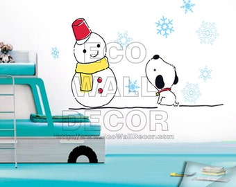 PEEL and STICK Removable Vinyl Wall Sticker Mural Decal Art - Christmas Snowman and Puppy