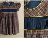 Vintage Red, Navy Blue and Yellow Plaid Toddler Dress