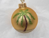 Palm Tree Beach Glitter Gold Ornament - Personalized Beach and Palm Tree Vacation Memory - Unique Gold Glass Christmas Ornament