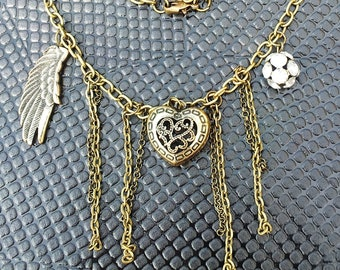 Heart & Angel Wing Rhinestone Crystal Antique Bronze Style Necklace Very Gothic Steam Punk