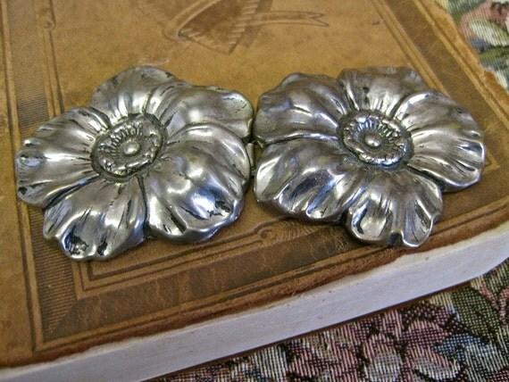 Sash Buckle Vintage 30s 40s Flowers Repousse ART NOUVEAU  Silver Oversized Wedding Buckle Set Choker Belt Headband  Decoration