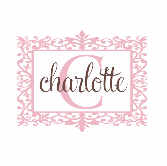 Name and Initial Vinyl Wall Decal Shabby Chic Border Personalized Monogram Wall Decal Girl Baby Nursery Girls Room Wall Art 22Hx28W FS241