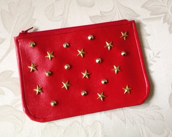 Star Studded Red Vegan Leather Mini Clutch / Case / Pouch