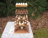 Rustic Wedding Cupcake Stand Log Slices 5 Tier X Large Personalized Cake