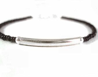 Dainty Black Bracelet, Silver Bar Bracelet, Seed Bead Friendship Bracelet, Under 10
