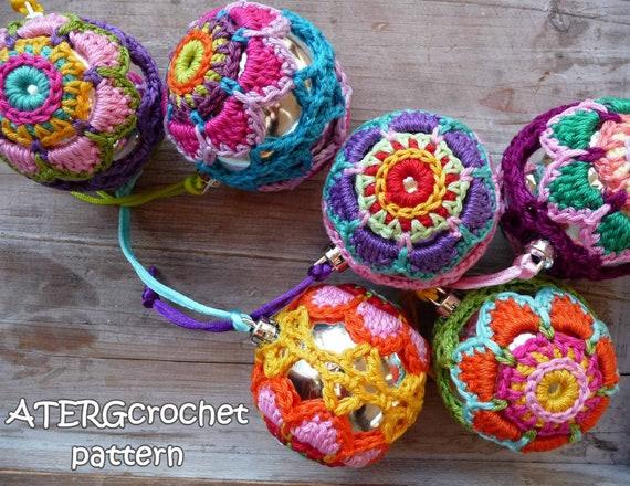 Crochet pattern Christmasball flower by ATERGcrochet