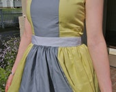 Grey and Yellow Color Blocked Party dress (made to order)