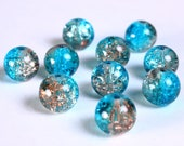 10mm mix color crackled beads - 10mm brown and blue crackle beads - 10mm round glass beads (842) - Flat rate shipping