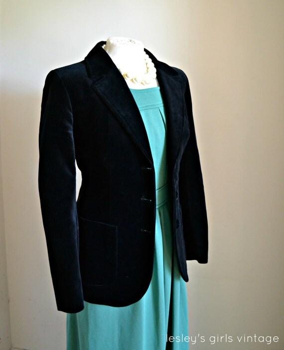"Vintage Velvet Jacket- 1970s blazer style SMALL Fall Fashion // ""Black Magic"" from Lesley's Girls Vintage"