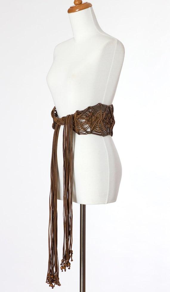70s Vintage Belt Brown Hippie Boho Woven Leather Southwest Desert