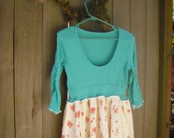 Sweet Baby Doll Dress/ Eco Chic Dress/ Prairie Girl Green Frock