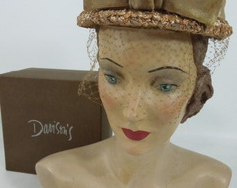 50s/60s Taupe Straw Veil Hat