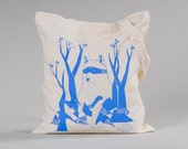 """Cotton Tote Bag """"Bear in the forest hill"""", screenprint, strong ice-blue"""