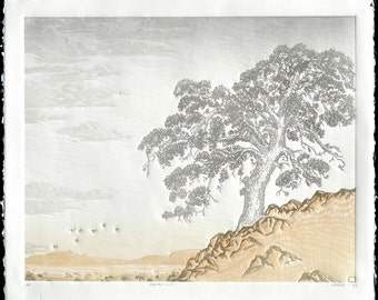 Arboreal No. 2 Linocut Print 16x 20 Slate Gray and Sepia Valley Oak, California Central Valley