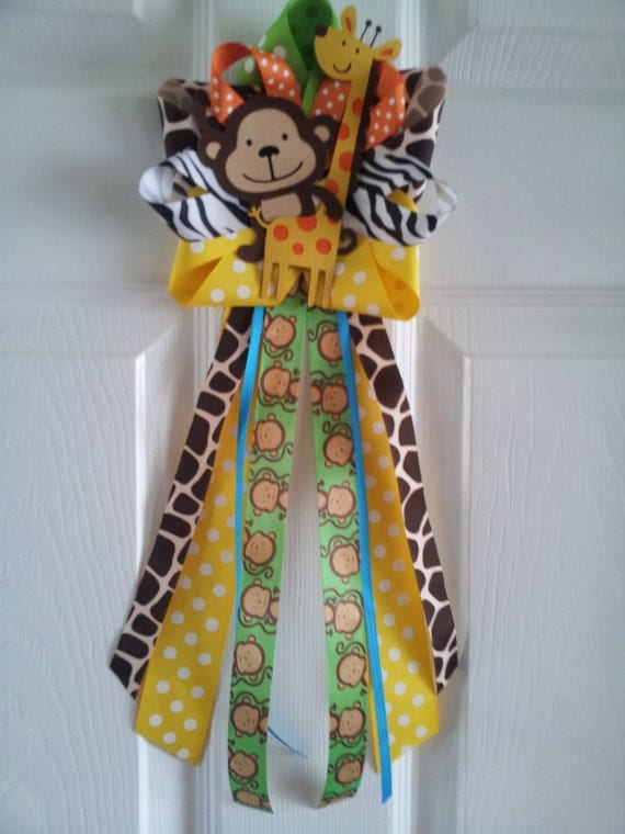 Items similar to jungle theme monkey and giraffe door for Baby shower safari decoration