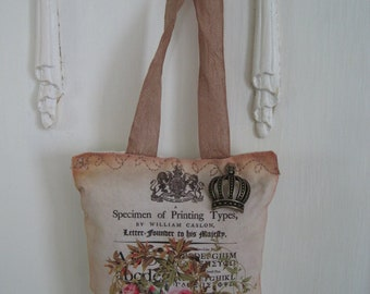 Pink roses and crown lavender sachet wedding favors bridal shower gift antique typography