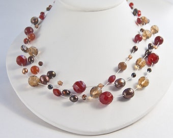Gemstone and Pearl Necklace . Carnelian Multi Strand Floating Necklace . Fall Accessories