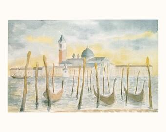 Venetian Sunrise Landscape Gondolas San Giorgio Maggiore Island