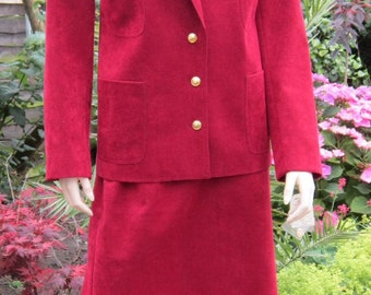 Vintage 80s suit Lilli Ann Ultrasuede skirt suit  NWT burgundy  Adolph Schuman size 16 PLUS
