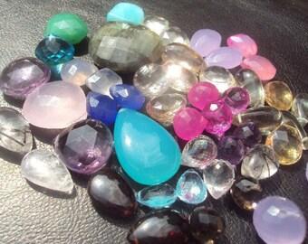 50% OFF SALE Super SURPRISE Sampler Gemstone Briolette Bead 50 Piece Set...Topaz, Quartz, Chalcedony, Opal, Chrysoprase, Onyx, Garnet, Ameth