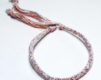 Kumihimo Bracelet Fiber Eco Friendly Egyptian Cotton Red & Purple Varigated Jewelry