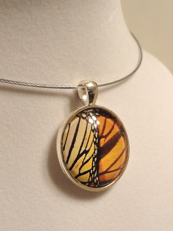 Art Glass Pendant - Monarch Butterfly - Necklace Included