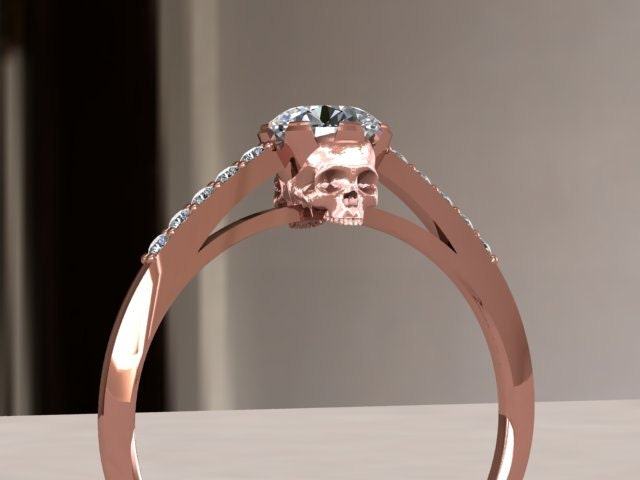 rose gold skull engagement ring zoom - Skull Wedding Rings