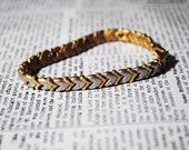Vintage Gold & Silver Chevron Bracelet