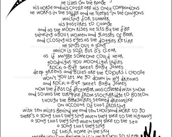 Sweet Baby James. Lyrics I Love. Art Print. Song Words by James Taylor. A Lullaby for your Precious Baby Boy. Nursery Wall Art. Perfect Gift