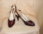 Vintage Burgundy Leather Heels Etienne Aigner  Women's Size 7.5 N