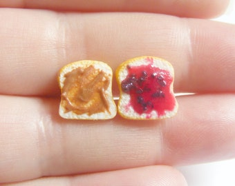 Food Jewelry Peanut Butter and Jelly Earrings, PB and J Sandwich Earrings Miniature Food Earrings Mini Food, P B & J Jewelry Kawaii earrings