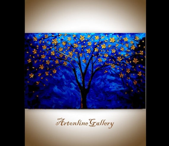 Original Oil Painting - Golden tree Of Life - Blue Gold Blossoms - Flowers Abstract - Palette Knife - Impasto Contemporary Art - Tree