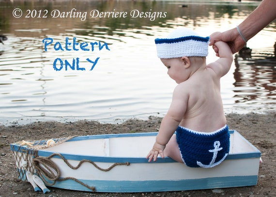 PDF Instant Download Sailor Hat, Nautical Headband, and Anchor Diaper Cover PATTERN