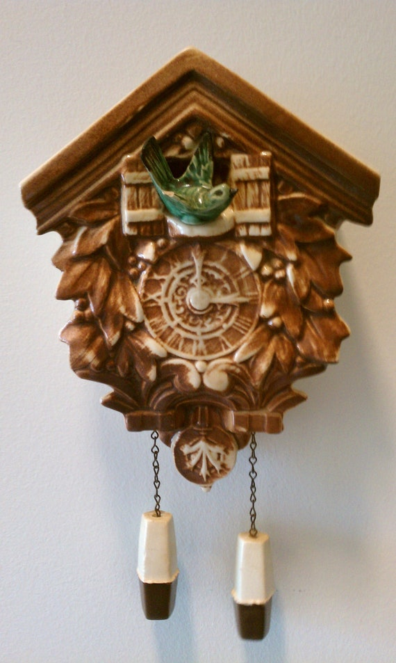 RESERVED FOR TROY Vintage McCoy Cuckoo Clock, wall pocket, brown and green, circa 1950
